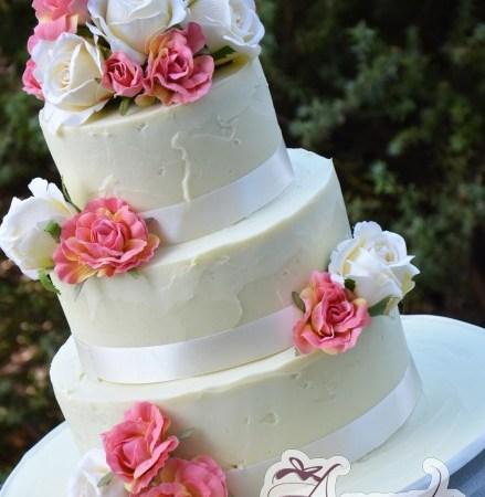 Three Tier flowers wedding cake - Amarantos Designer Cakes Melbourne