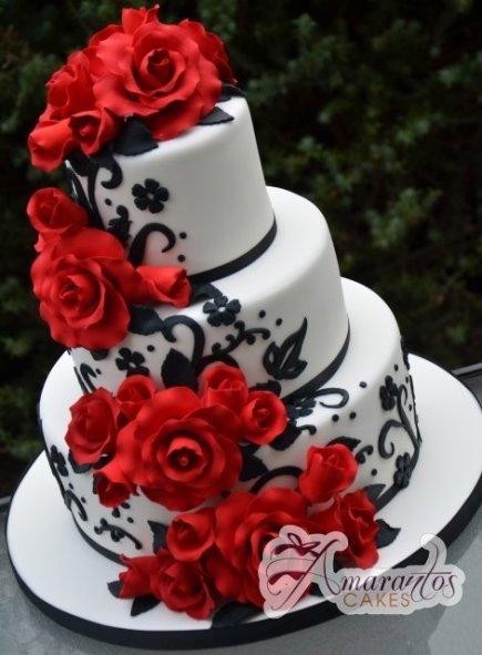 red black floral wedding cake - Amarantos Designer Cakes Melbourne