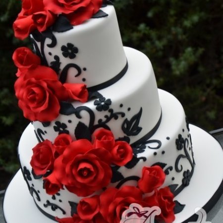 red black floral wedding cake - Amarantos Designer Cakes Melbourne