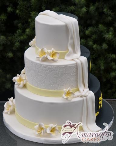 Three Tier Half and Half Wedding Cake - Amarantos Cakes Melbourne