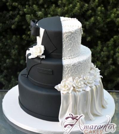 Three tier half and half wedding cake – WC255
