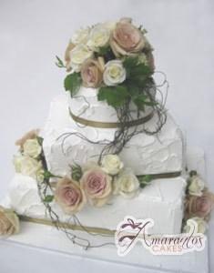 Three Tier Cake - WC76 - Amarantos Wedding Cakes Melbourne