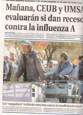Portada de La Prensa. 2009. Bolivia