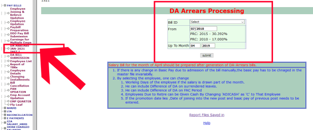 how to prepare da arrears bill in ddo request