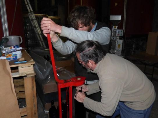 Hand corking the jereboams