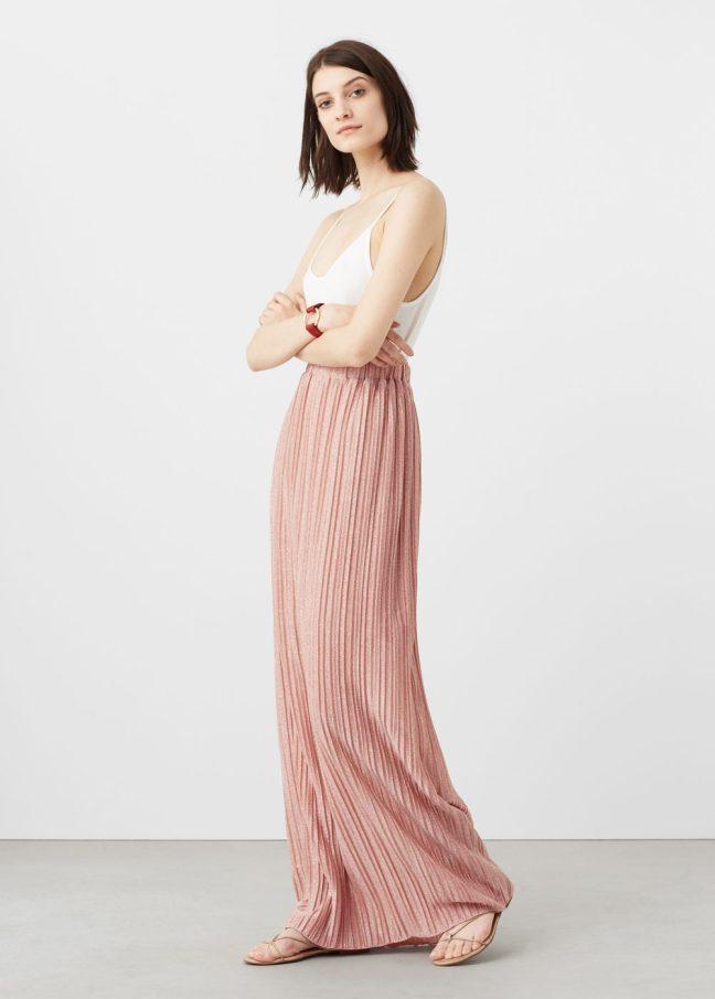 falda larga plisada rosa mango