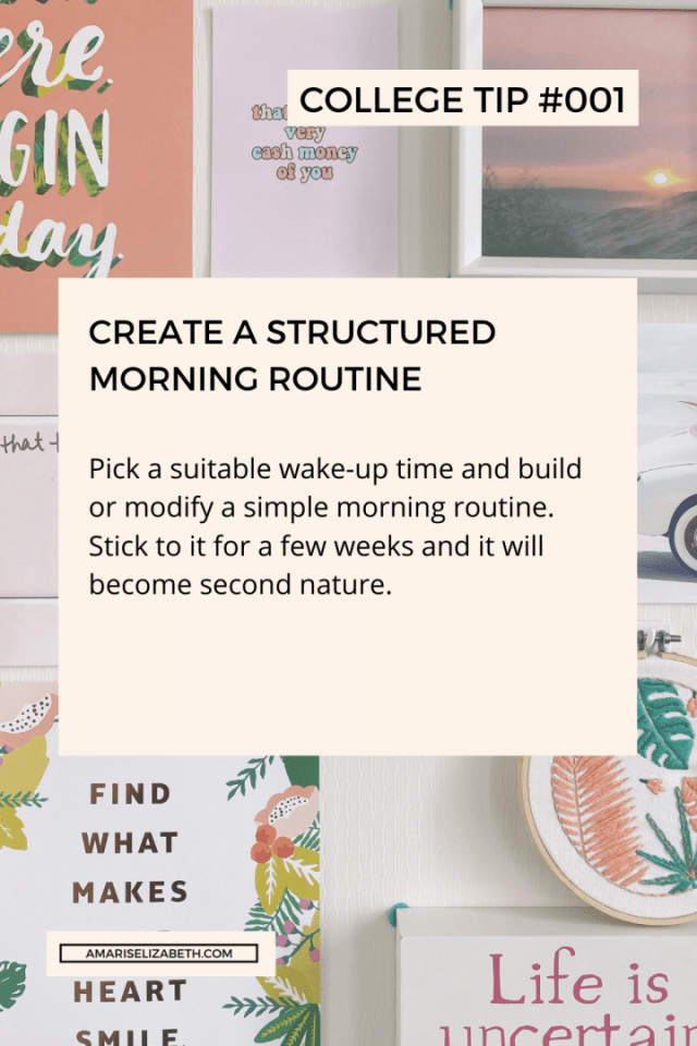 pandemic college tip 1 create a structured morning routine