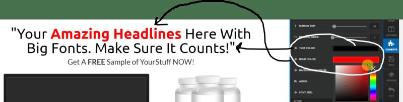 changing clickfunnels font color
