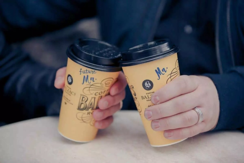 """Coffee cups with """"future Mr"""" and """"Mr"""" written on them"""