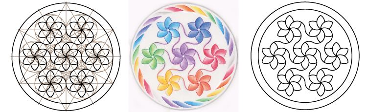 Dessiner un Mandala Arc-en-Ciel