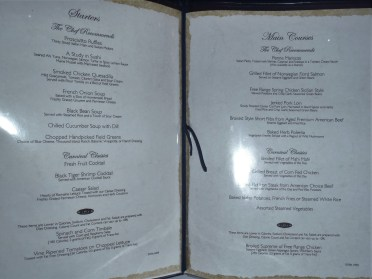 Starter and Main Course Menu
