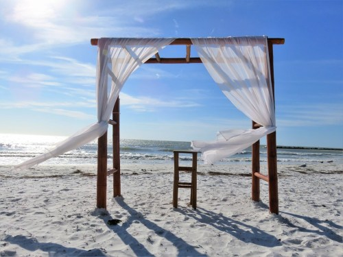 Windy Beach Wedding Event Ceremony Chuppah