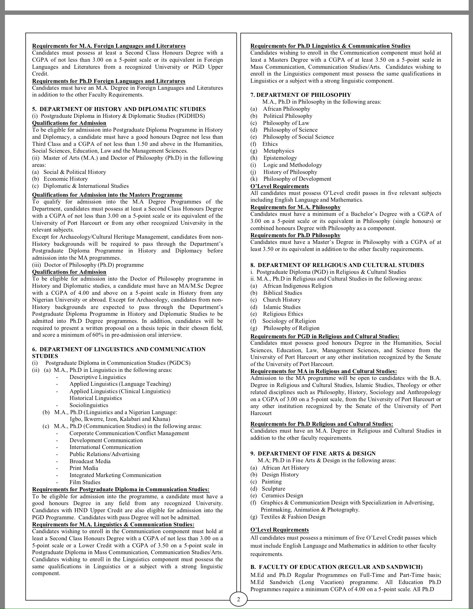 UNIPORT Postgraduate courses and Requirements