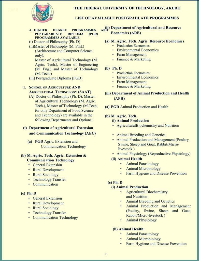 Courses Offered At FUTA Postgraduate Studies