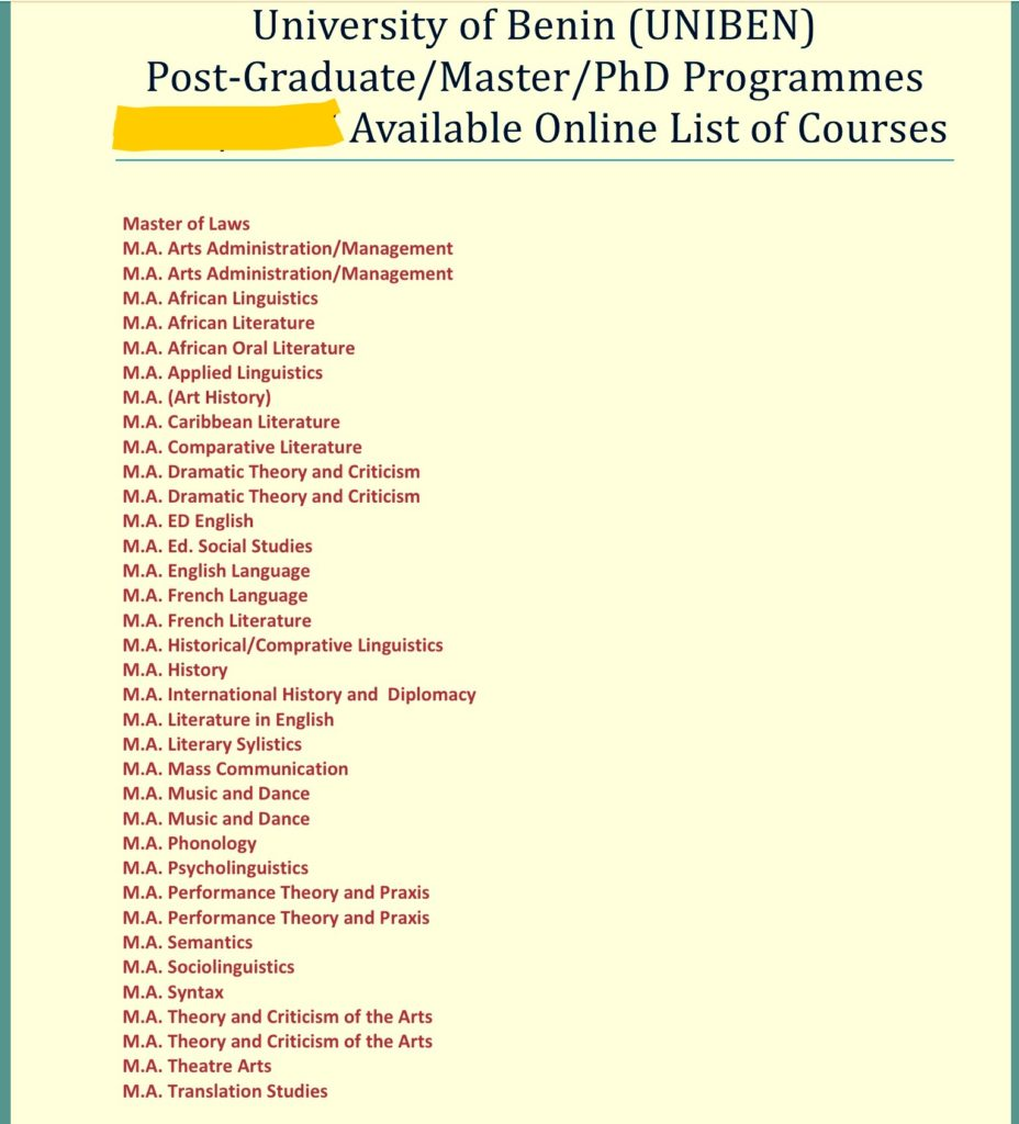 University of Benin, UNIBEN Postgraduate Courses And Requirements