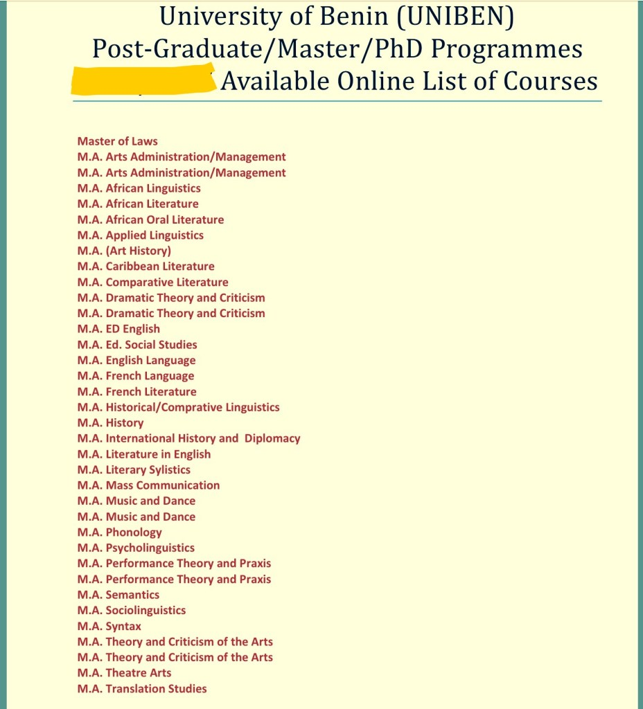 University of Benin, UNIBEN Postgraduate Courses And Requirements