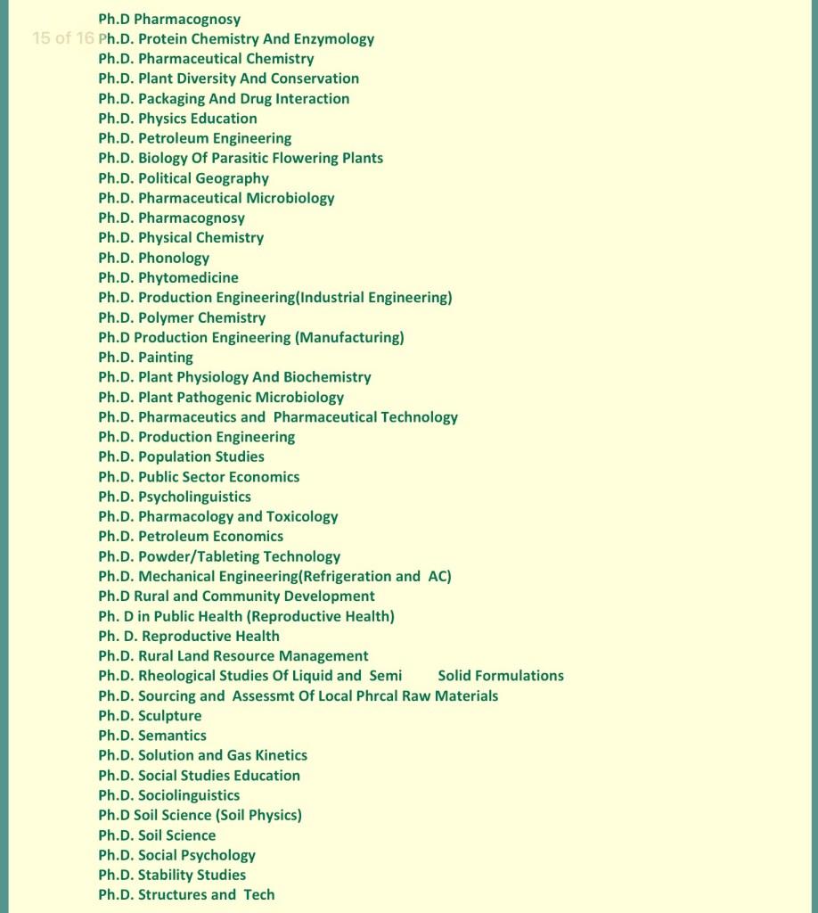 UNIBEN courses for postgraduate
