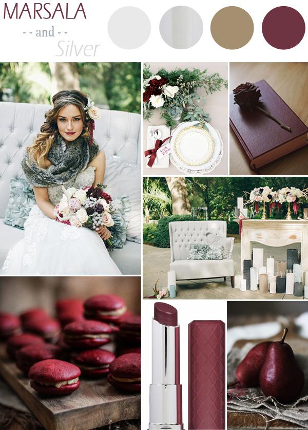 palette colori matrimonio marsala e argento