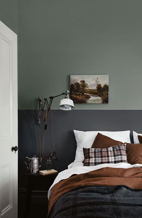 Verde oliva alle pareti e dettagli dai colori caldi