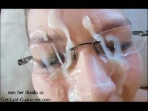 Thick Cum facial on her Glasses