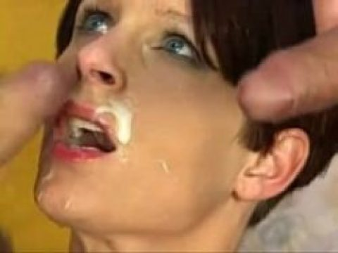 Multiple facials on this cum choking slut