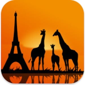 Giraffes and the Eiffel tower represent a few of the interesting pictures shown on the GeoWalk app