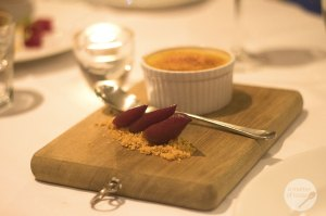 crema catalana, red wine poached pears & almond praline