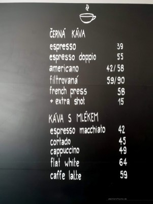 Art Coffee Ostrava menu