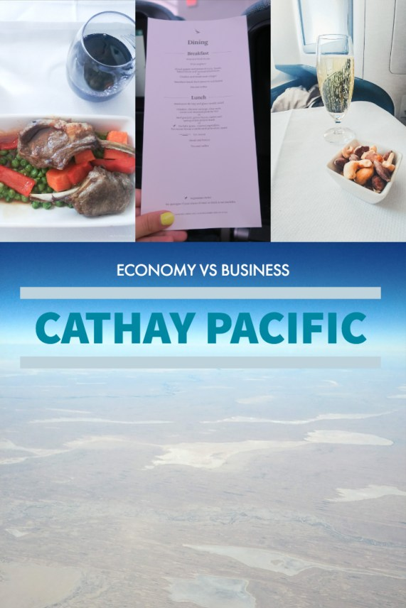 Cathay Pacific CX134 economy vs business flight MEL-HKG