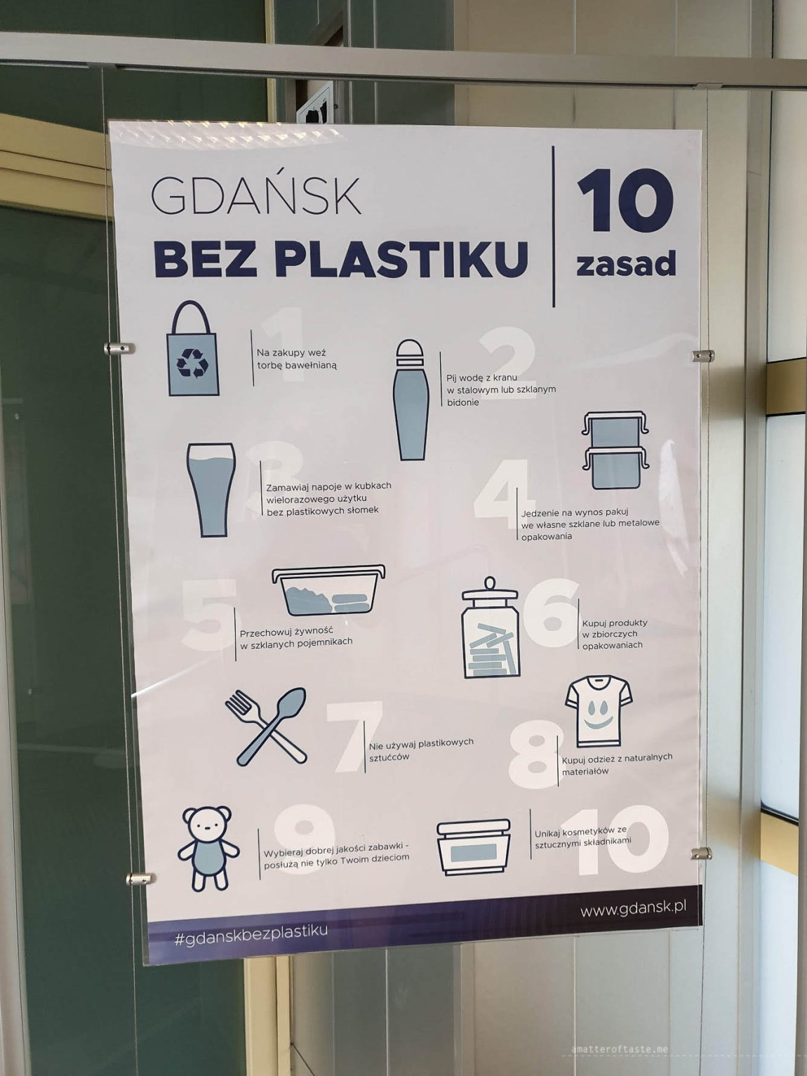 """a poster promoting the plastic-free lifestyle. There are 10 """"life-hacks"""" on how you can change small things to be using less plastic on daily basis."""