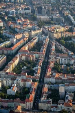 Hot air balloon city streets view