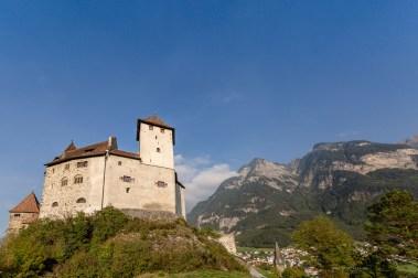 Liechtenstein road trip Balzers castle mountains
