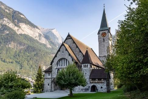 Liechtenstein road trip Balzers church mountains