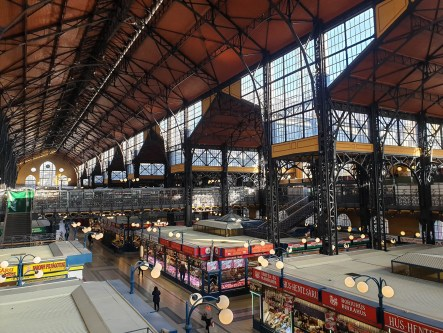 The main market of Budapest called Great Market Hall. It's usually full of tourists but I visited at 6:30am due to jet lag so there is nobody around. It's grand with an intricate iron structure supporting its roof.