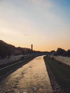 Ostrava river sunset view