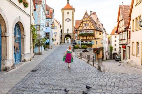 Rothenburg ob der Tauber germany sunrise dirndl town