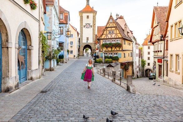 Rothenburg ob der Tauber germany sunrise dirndl town
