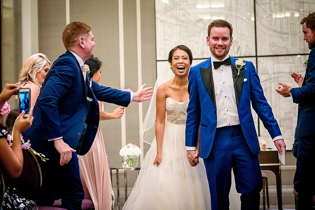 Corinthia Hotel Bride and Groom Ceremony Laughing