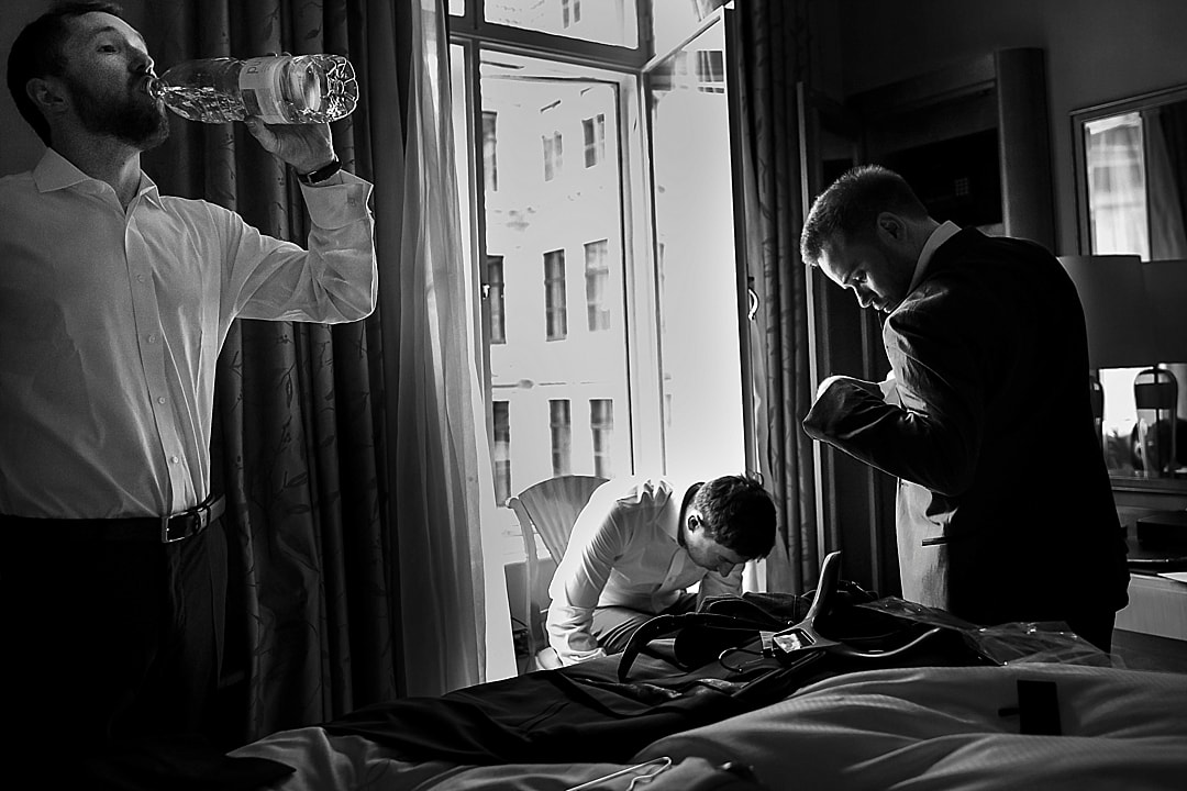 Corinthia Hotel Wedding Photographer Groom Prep at The Savoy London