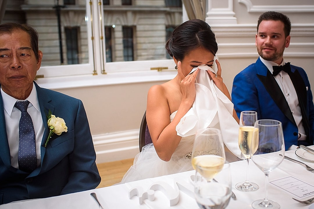 Corinthia Hotel Wedding Photographer bride crying during speech