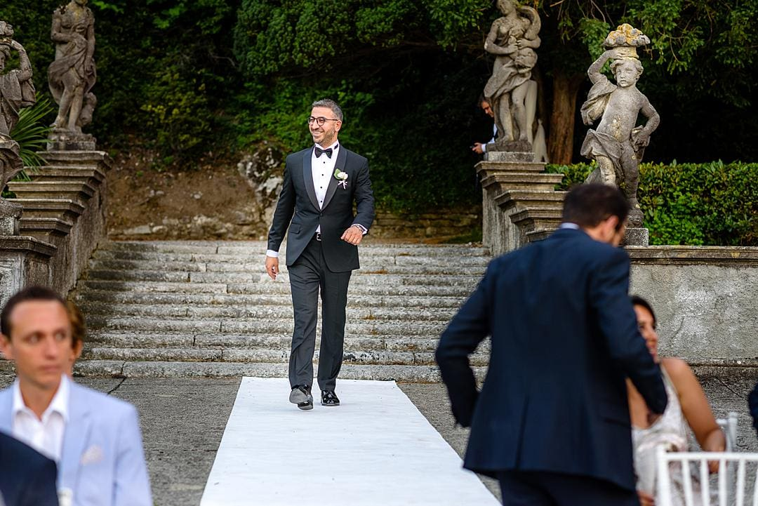 Groom arriving for Marriage Ceremony at Villa Pizzo Lake Como