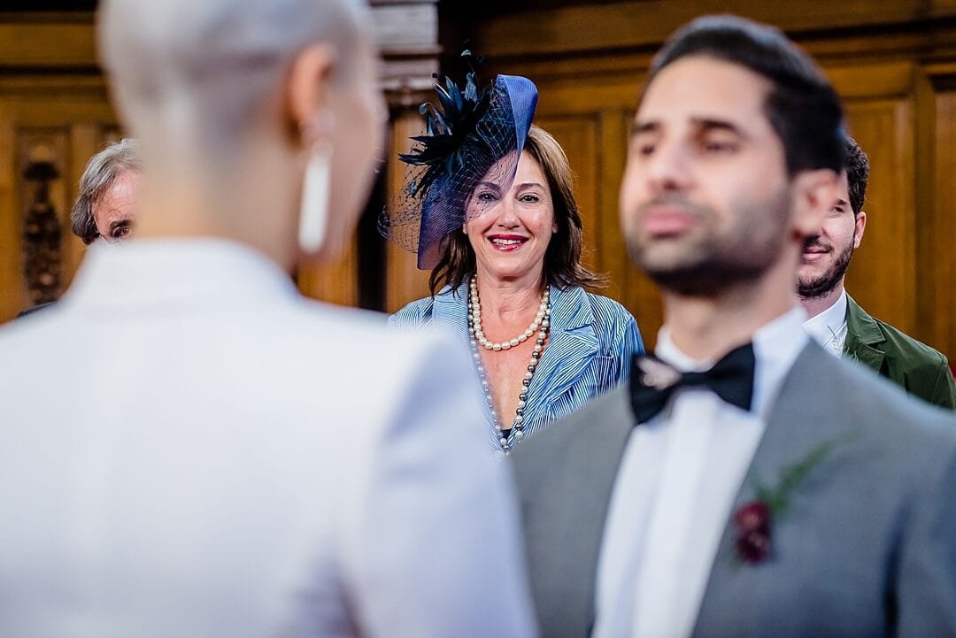 Islington Town Hall Wedding Photographer Bride & Groom at ceremony