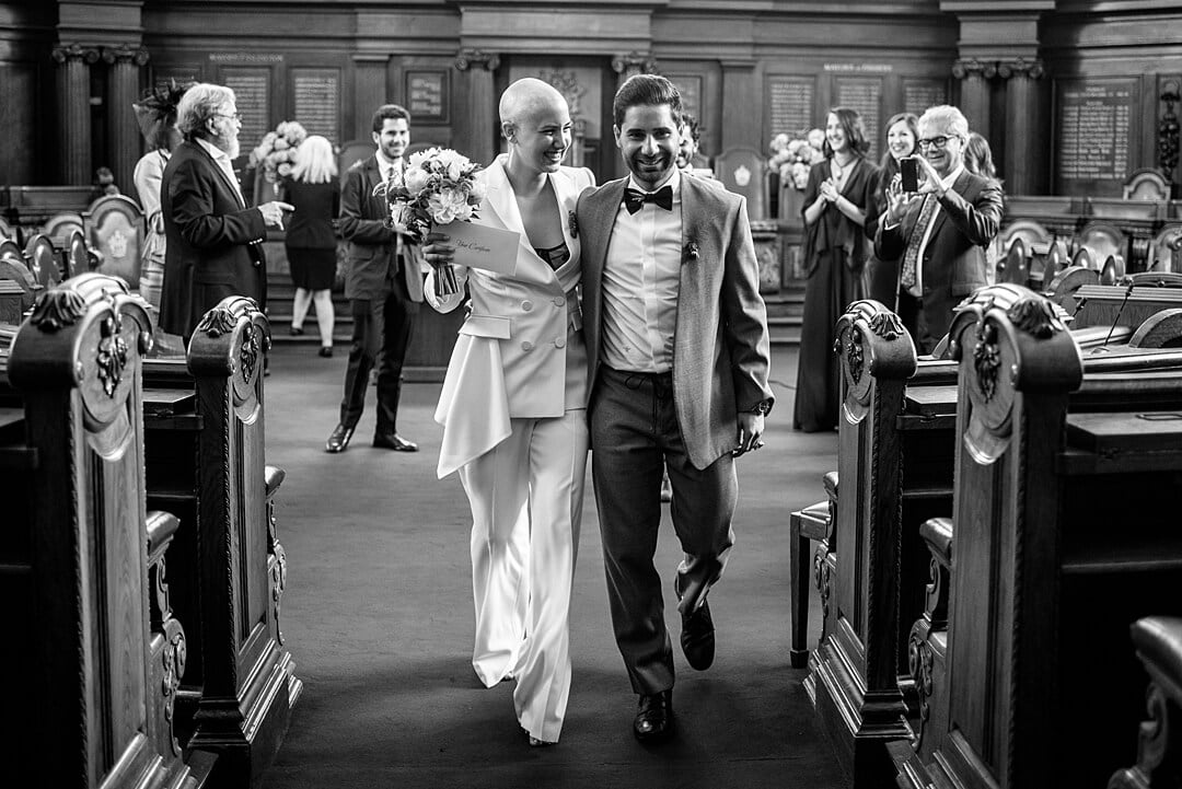 Islington Town Hall Wedding Photographer Bride & Groom at Recessional