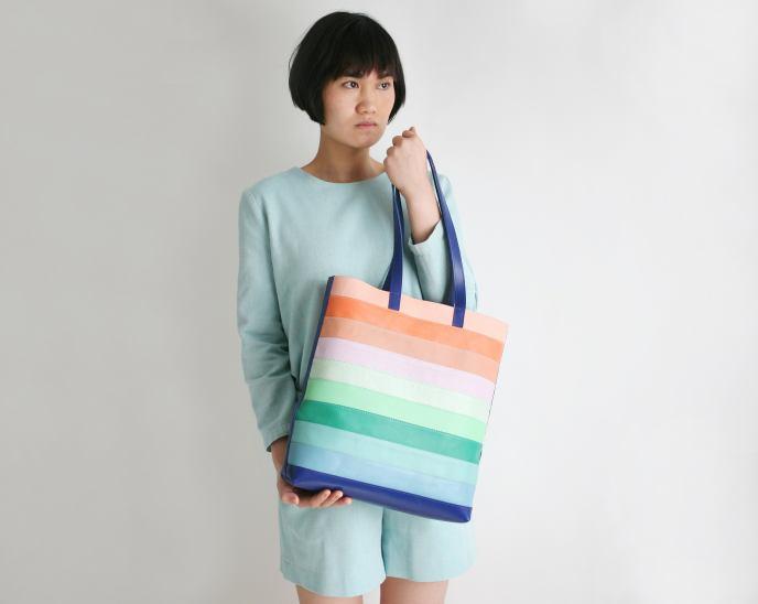 Leather Bag Tropical Design Like rainbow