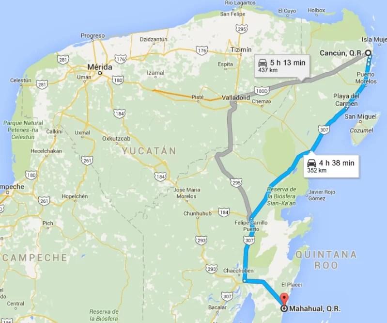Como llegar a Mahahual Mapa ruta Isla Mujeres Mahahual