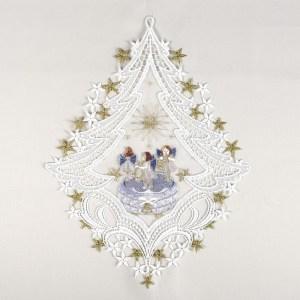 """Fensterbild """"Spieldose"""" blau Advent Weihnacht Echte Plauener Spitze inkl. Saughaken"""