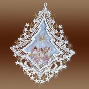 """Fensterbild """"Spieldose"""" rosa Advent Weihnacht Echte Plauener Spitze inkl. Saughaken"""