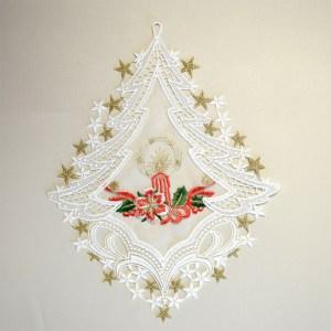 Fensterbild Weihnachtslicht Advent Weihnacht Echte Plauener Spitze inkl. Saughaken