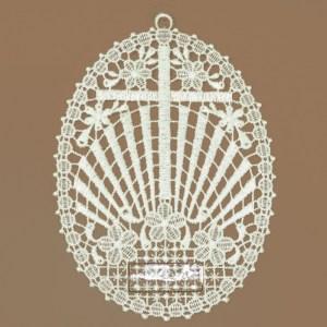 Kreuz mit Strahlen Klassisches Fensterbild aus Echter Plauener Spitze weiß