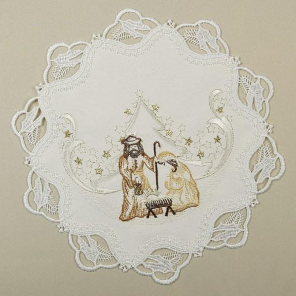 Weihnachts-Tischdekoration Maria und Josef Plauener Spitze natur SONDERPREIS
